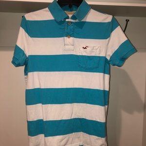 Hollister blue/white stripe polo size medium